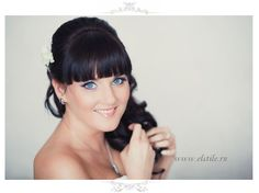 wedding hair with thick bangs & curls