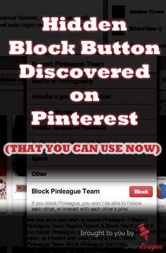 How to Block Profiles on Pinterest......... Hidden Block Button ............ Group board owner can use it to remove spammers from group boards with high followers......In the contributor's  Profile page, look for the little flag icon at the top right bottom corner. Activate the blocking. ...................... Be careful, if you block a person, ALL the group boards that person is following you would be removed .... #Block #contributor #Followers #pinners #Pinterest  #Spam  #Group #Board # Re...