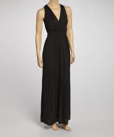 Take a look at this Black Surplice Maxi Dress by American Twist on #zulily today!