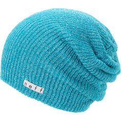 Add a hit of color to your wardrobe with a new Neff Girls Daily Sparkle cyan beanie that works with any outfit. Instantly warm your head in soft comfort thanks to the ribbed knit construction in the cyan colorway, slouchy fit, and a Neff logo tag embroidered near the hem for added style.