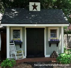 charming garden shed. ✿  My garden shed needs a makeover. Already has grey siding. I think I could do this myself !!