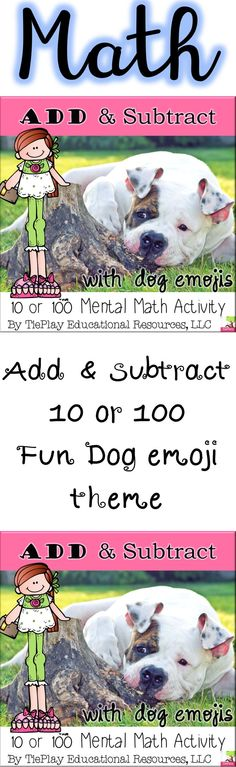 Dog emojis are great, and make math especially fun. In Add or Subtract 10 or 100 with Dog Emojis in black and white print, learners solve 10 or 100 math questions in an activity. An in color version is available. Cooperative Learning, Learning Games, Math Activities, Teaching Resources, Dog Emoji, Math Questions, Second Grade Math, Creative Teaching, Teaching Materials