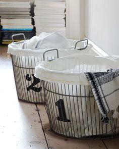 DIY - Sweet Paul's DIY Lined  Numbered Vintage Laundry Baskets - Tutorial