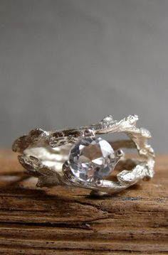 Lovely Clusters - Beautiful Shops: Clear White Topaz Double Twisted Branch Jewelry Elvish Twig Ring