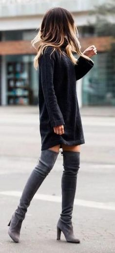 knit dress. grey over the knee boots.