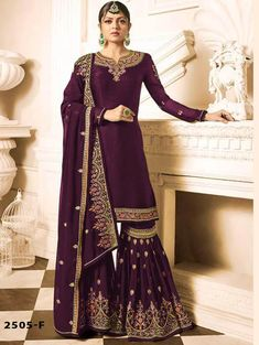 Dress Material-Plazo Suit -Sharara Plazzo F Georgette with Full heavy Embroidery Work qalbcreations Palazzo With Kurti, Palazzo Suit, Maroon Suit, Maroon Dress, Indian Gowns, Indian Outfits, Festival Wear, Festival Fashion, Wedding Salwar Suits