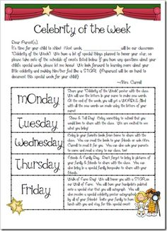 The First Grade Parade: Celebrity of the Week