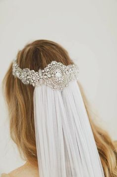 MUST HAVE! � Such a beautiful way of wearing the veil!� Custom crystal and pearl embroidered bridal wrap headpiece