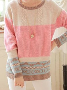 Lovely Women O-Neck Full Sleeve Multicolor Printing Knitted Leisure Pullover Sweater on buytrends.com