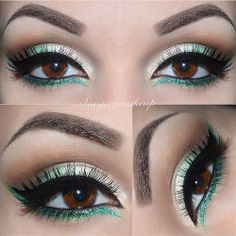 green eyes makeup brown gold eyeliner brows  false eyelashes surgerymakeup