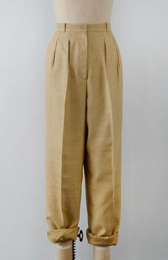 Silken Straw Trousers / vintage classic high waist trousers