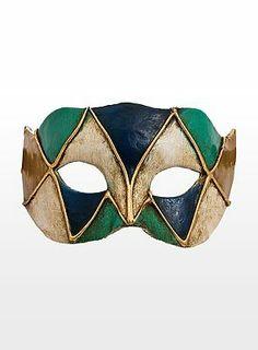 14,90€, Colombina piccolo arlecchino blu verde Venezianische Miniaturmaske