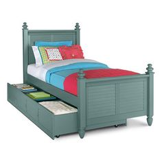 seaside twin bed with trundle blue