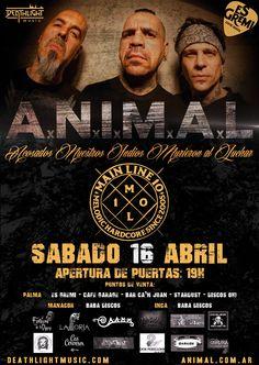Tarde de metal en estado puro es lo que nos espera el sábado 16 de Abril en Es Gremi. De la mano de Deathlight Music los argentinos A.N.I.M.A.L y la banda local MAIN LINE 10.