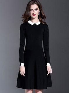 Cute lapel monochrome color-matched slim dress