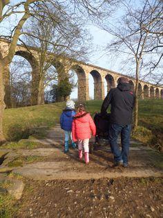 Walking to Crimple Viaduct in Harrogate with kids