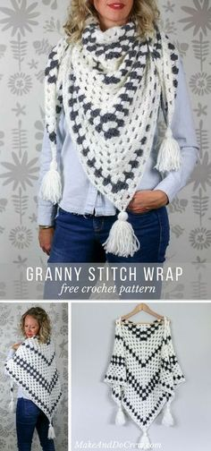 Crochet Pattern Stitches Put a modern spin on a crochet classic with this simple granny stitch wrap. Can double as a chunky and warm scarf! Col Crochet, Crochet Triangle Scarf, Crochet Wrap Pattern, Crochet Granny, Crochet Stitches, Crochet Ideas, Triangle Pattern, Double Crochet, Free Crochet Poncho Patterns