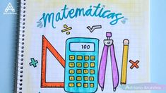 Portada fácil para la materia de matemáticas Bullet Journal Cover Ideas, Journal Covers, Front Page Design, Diy Notebook Cover, Kids Origami, Doodle Art Designs, Hand Lettering Alphabet, Instagram Story Ideas, Cover Pages