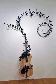 Violin & Butterfly #art #music #violin #butterflies