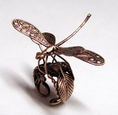 Taking flight... Woodland Dragonfly Steampunk Ring - (bugs, insects, spider sparklies, jewelry)