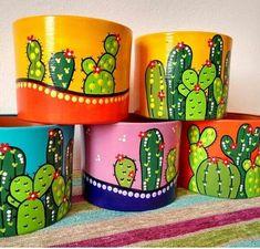 Flower Pot Art, Flower Pot Design, Flower Pot Crafts, Clay Pot Crafts, Cactus Painting, Bottle Painting, Ceramic Painting, Stone Painting, Painted Plant Pots