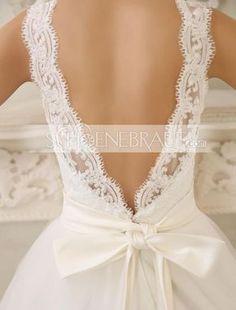 A Linie Brautkleid mit Spitze am Rücken rückenfrei Standesamt kleider mit rosa Schleife [#UD9185] - schoenebraut.com