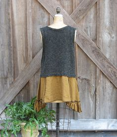 recycled reconstructed upcycled sweater vest and by linenclothing