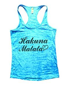"""Hakuna Matata Womens Funny Fitness Burnout Gym Tank Top Racerback Shirt - Funny Threadz (Small, Tahiti Blue)<div><div>""""Hakuna Matata"""" Fun and motivating tank top. Great for the gym and to get laughs. These burnout material tank tops are hands down the HOTTEST workout fitness tanks available. Keep in mind these are a fitness fit they run a little tighter, if you like a normal fit, Id order 1 size above for a comfortable fit, if you like a snug fit for your working out order your normal size…"""