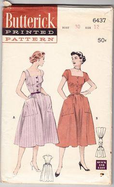 Vintage 1953 Butterick 6437 Sewing Pattern Misses' Oversized Pockets Dress Size 12 Bust 30
