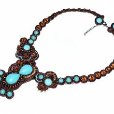 Soutache Turquiose Bib Necklace - Persian Night Collection.  Shop www.CraftBoutique.ca. Free shipping within Canada & USA.