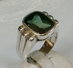 Vintage Ringe - 19,7 mm Ring Silber 835 Turmalin grün SR567 - ein Designerstück von Atelier-Regina bei DaWanda