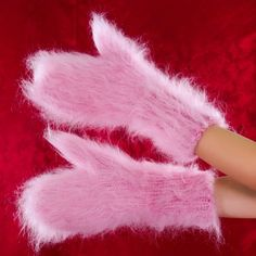 New Hand knit mohair mittens fluffy THICK PINK fuzzy hand warmers by SUPERTANYA #SuperTanya #Mittens