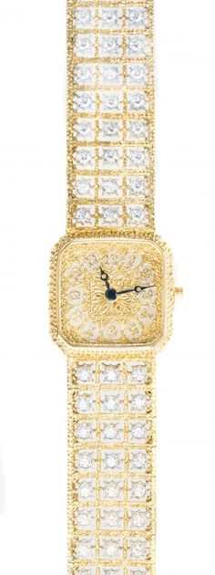 BUCCELLATI 18K GOLD AND DIAMOND WRISTWATCH
