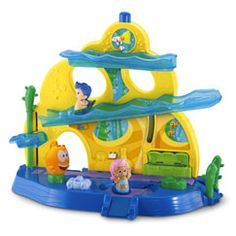 You're invited to join the Bubble Guppies for a swim-sational school day! You can roll the Molly & Gil figures down the ramps & around the playset and imagine yourself swimming through the school day with your fish-tailed friends! You can also take