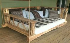Porch swing bed....Perfect for reading on a cool summer day, cuddling under the stars or naps on a lazy day!