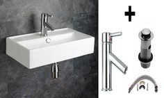 Perugia 55cm by 31cm Rectangular Wall Mounted Rectangular Sink, Tap and Waste Set