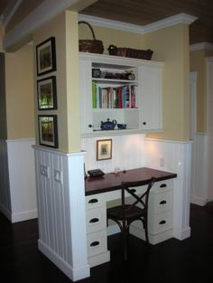 office nook, dark butcher block, beadboard between upper and lower.  I think I'd like something to pin to or magnets