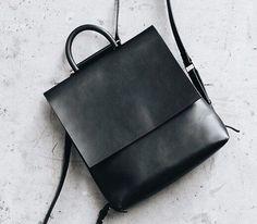 Leder Rucksack Frauen schwarz Leder-Laptop-Tasche von ViewInRain
