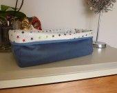 grand panier de rangement tissu bleu et interieur plastifié : Accessoires de maison par laet-it-broc