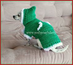 Winter Elf Dog Sweater Hoody - Instant Download Crochet Pattern