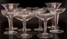 8 Assorted Crystal Hollow Stem Champagne Glasses Eclectic Mix Asst size shape