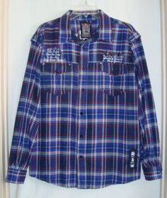 Parish-Nation-Blue-Flannel-Plaid-Embroidered-Long-Sleeve-Mens-Shirt-Size-XL