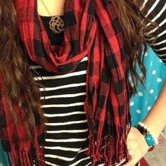 Outfit, style, fashion, buffalo plaid, stripes, target, thrifted, pearls, Instagram @emily_soto
