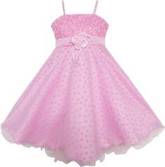 Girls Dress Flower Pink Rose Tank Wedding Pageant Size 5-8 Years