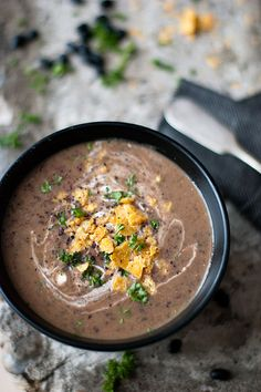 Black Bean Soup | Flickr - Photo Sharing! - made a meal based off of this. No lemon. Added Curry. Used Indian black beans. Quick and yummy. -lk