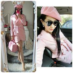 42357 pink IDR 221,000 Material Woolen Length 66 Bust 100 Shoulder 39 Waist 94 skirt 66 Sleeve 57 pants skirt 44 Weight 0.89kg