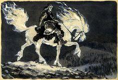 Canis Albus Kalevala illustrations by Nicolai Kochergin Dark Fantasy, Fantasy Art, Detailed Paintings, Fairytale Art, Mythological Creatures, Art Studies, American Artists, Faeries, Fairy Tales