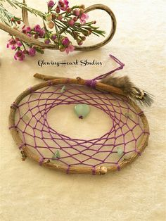 Purple Dream Catcher - heart shape aventurine gemstone natural willow dreamcatcher