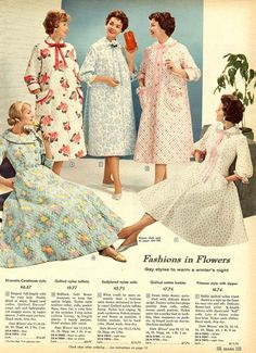 1958 Dressing Gowns from Sears Catalogue 2 Late Vintage 1920s Fashion Women, 1960s Fashion, Vintage Fashion, Vintage Lingerie, Women Lingerie, Linen Dress Pattern, Petticoats, Mode Vintage, Historical Clothing