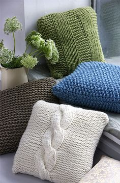 Beige knit pillows-love! To go with my knit throw!